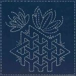 Sashiko southwest design pre-printed on indigo100% KONA cotton fabric