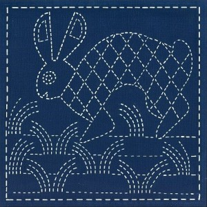 Stamped sashiko quilt blocks with southwest designs pre-printed on indigo KONA 100% cotton fabric